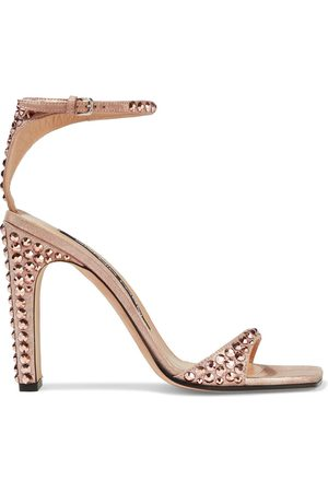 SERGIO ROSSI Women Sandals - Woman Crystal-embellished Metallic Suede Sandals Rose Size 35.5