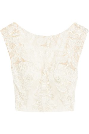 Catherine Deane Woman Meret Embellished Tulle Top Ecru Size 10
