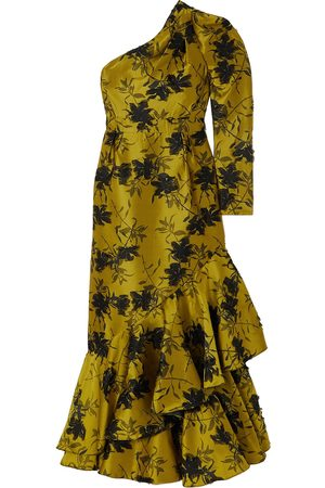 Erdem Woman Doriana One-sleeve Ruffled Fil Coupé Floral-jacquard Gown Chartreuse Size 10