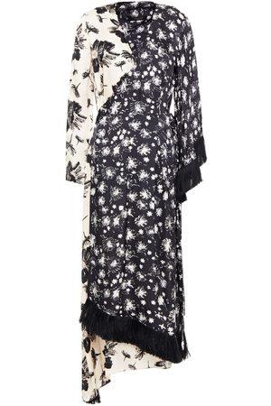 MOTHER OF PEARL Woman Sylvie Asymmetric Printed Hammered-satin Midi Wrap Dress Size 12