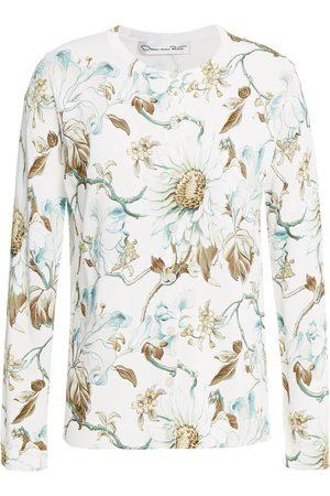 Oscar de la Renta Woman Floral-print Knitted Cardigan Ivory Size L