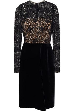 Oscar de la Renta Woman Velvet-paneled Corded Lace Dress Size 0