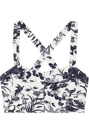 Erdem Woman Abril Printed Cotton-twill Bustier Top Size 10