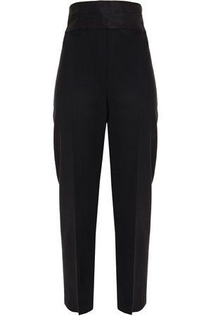 Oscar de la Renta Woman Faille-trimmed Wool-blend Twill Straight-leg Pants Size 10