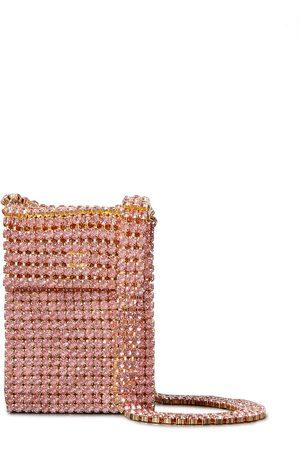 AREA Woman Crystal Flapper Embellished Gold-tone Shoulder Bag Baby Size