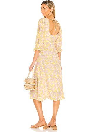 FAITHFULL THE BRAND Clement Midi Dress in ,Yellow. Size XS, S, M, XL.