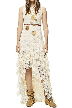 Loewe Paula's Ibiza Long Asymmetric Crochet Dress in Off &