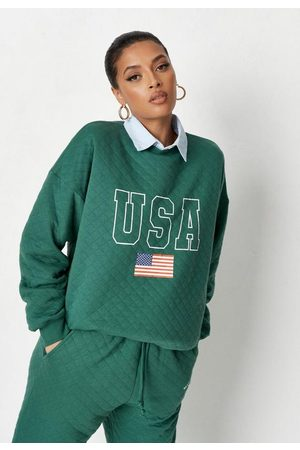 Missguided Tall Quilted Usa Slogan Sweatshirt