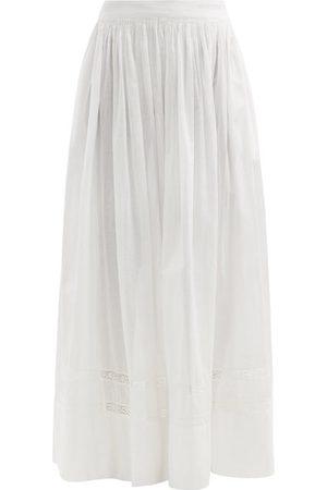 MIMI PROBER Women Maxi Skirts - Salter Lace-trimmed Organic-cotton Maxi Skirt - Womens