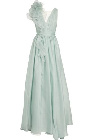 Marchesa Women Evening Dresses - Ruffle-Shoulder Gown
