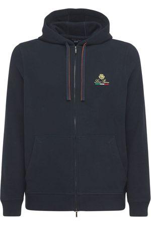 Loro Piana Men Sweatshirts - Logo Embroidery Horsey Cotton Zip Hoodie