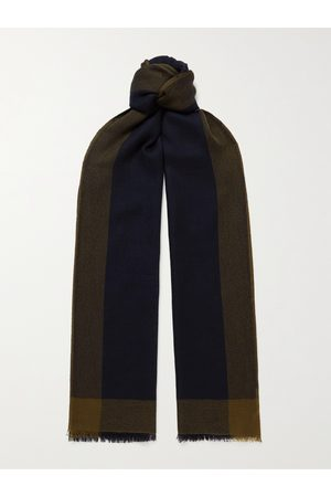 Loro Piana Men Scarves - Fringed Checked Brushed-Cashmere Scarf