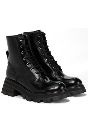 Alexander McQueen Women Ankle Boots - Patent leather combat boots
