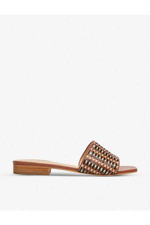 Dune Women Sandals - Libra lattice-woven leather mules