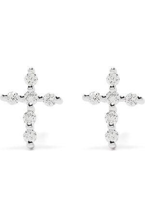 Djula Men Earrings - 18kt white gold diamond Big Cross earrings