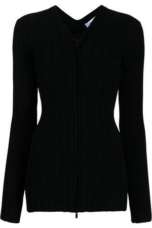 Proenza Schouler White Label Women Cardigans - Ribbed zip-up cardigan