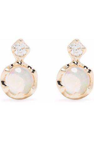 Dinny Hall Women Earrings - 14kt yellow double opal and diamond stud earrings