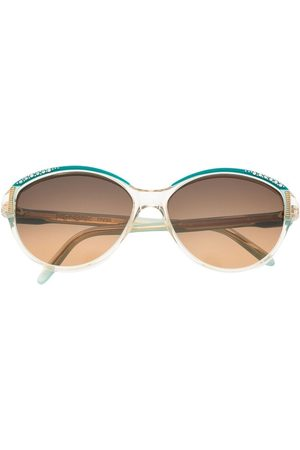 Yves Saint Laurent 1980s rhinestone-embellished round-frame sunglasses - Neutrals