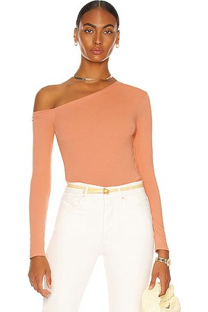 ENZA COSTA Women Tops - Angled Exposed Shoulder Long Sleeve Top in Peach