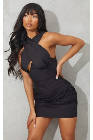 PRETTYLITTLETHING Underbust Halterneck Ruched Bodycon Dress