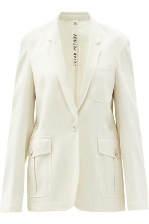 PETAR PETROV Women Blazers - Irma Single-breasted Cotton-gabardine Jacket - Womens - Ivory