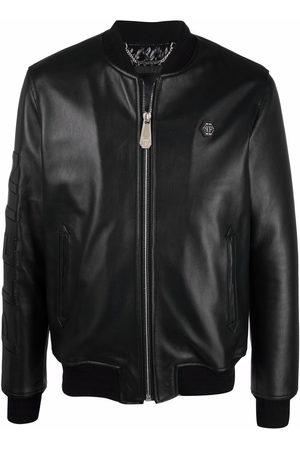 Philipp Plein Embossed-logo leather jacket