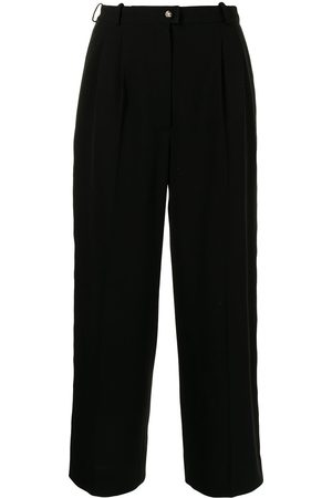 CHANEL Side-logo cropped tailored trousers