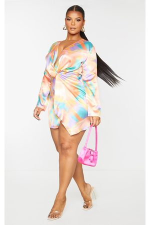 PRETTYLITTLETHING Women Printed Dresses - Plus Multi Abstract Print Satin Long Sleeve Wrap Dress
