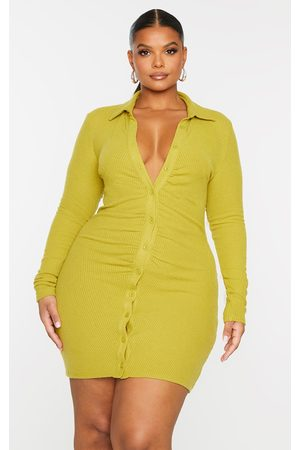 PRETTYLITTLETHING Plus Chartreuse Brushed Rib Long Sleeve Ruched Shirt Dress