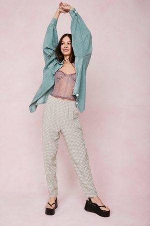 NASTY GAL Womens Seersucker Check High Waisted Tapered trousers
