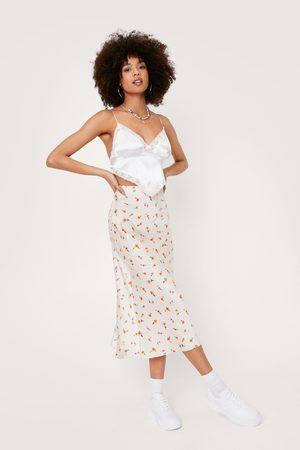 NASTY GAL Womens Floral Print Satin Bias Cut Midi Skirt