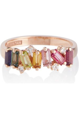 Suzanne Kalan Rainbow 14kt rose ring with diamonds and sapphires