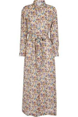 Etro Floral ramie maxi shirt dress