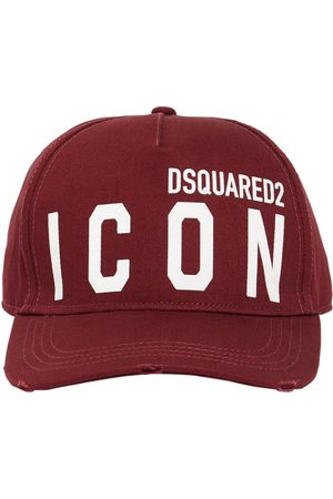 Dsquared2 Men Hats - Icon Flocked Cotton Gabardine Cap