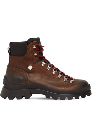 Dsquared2 Men Outdoor Shoes - Crosta Ingrassato Leather Hiking Boots