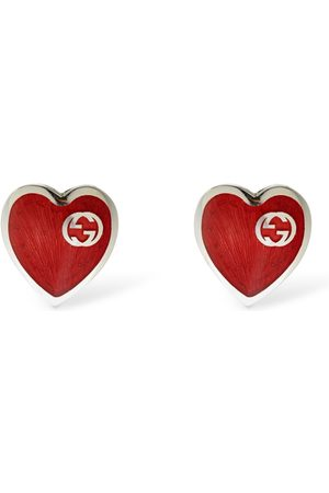 Gucci Interlocking G Enamel Heart Earrings