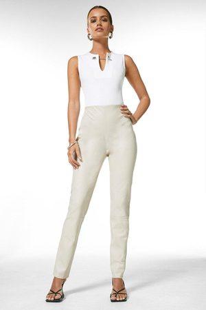 Karen Millen Women Trousers - Karen Millen Petite Stretch Leather Legging -, Cream