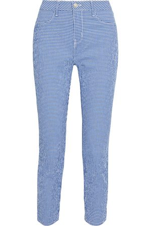 L'Agence Woman Mandy Cropped Gingham Cotton-blend Seersucker Skinny Pants Size 23