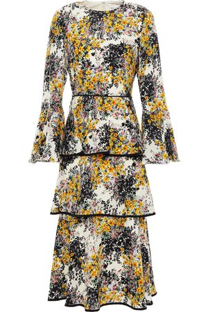 MIKAEL AGHAL Women Printed Dresses - Woman Tiered Floral-print Crepe De Chine Midi Dress Ivory Size 10