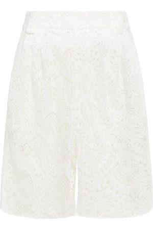 SARA BATTAGLIA Women Shorts - Woman Pleated Guipure Lace Shorts Size 36
