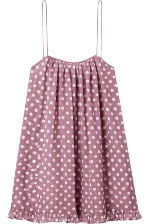 CAROLINE CONSTAS Woman Ruffled Polka-dot Chiffon Mini Dress Lilac Size L