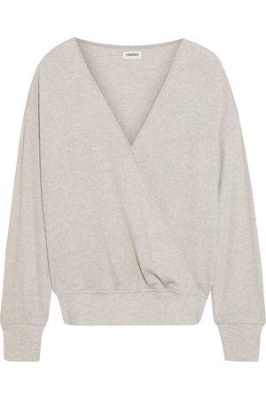 L'Agence Women Wrap Tops - Woman Amber Wrap-effect Ribbed Modal-blend Top Neutral Size L