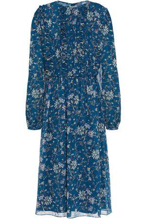 MIKAEL AGHAL Women Printed Dresses - Woman Gathered Floral-print Chiffon Dress Petrol Size 10