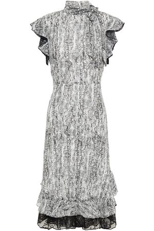 MIKAEL AGHAL Women Printed Dresses - Woman Lace-trimmed Leopard-print Crepe De Chine Dress Animal Print Size 10