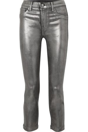 J BRAND Women Slim - Woman Ruby Cropped Metallic Coated High-rise Slim-leg Jeans Gunmetal Size 24