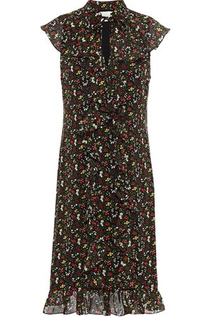 MIKAEL AGHAL Woman Pussy-bow Ruffled Floral-print Chiffon Dress Size 10