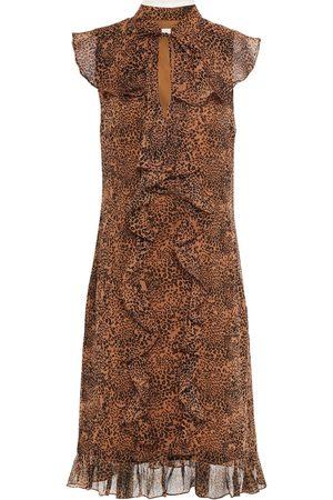 MIKAEL AGHAL Woman Pussy-bow Ruffled Leopard-print Chiffon Dress Animal Print Size 10