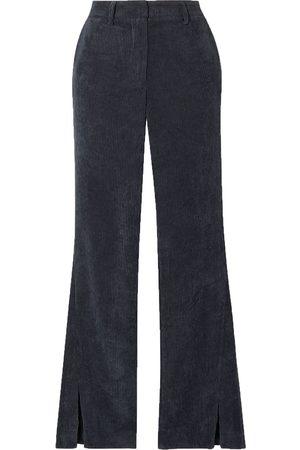 ANINE BING Woman Jocelyn Corduroy Flared Pants Navy Size L