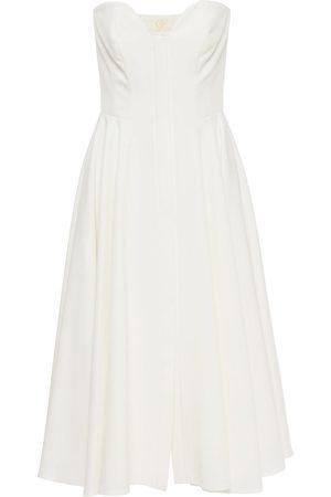 SARA BATTAGLIA Women Midi Dresses - Woman Strapless Gathered Cady Midi Dress Size 36