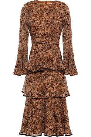 MIKAEL AGHAL Women Printed Dresses - Woman Tiered Leopard-print Georgette Midi Dress Animal Print Size 10